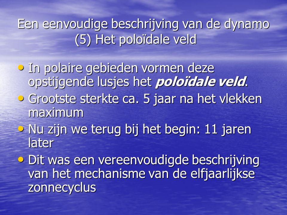Een eenvoudige beschrijving van de dynamo (5) Het poloïdale veld • In polaire gebieden vormen deze opstijgende lusjes het poloïdale veld.