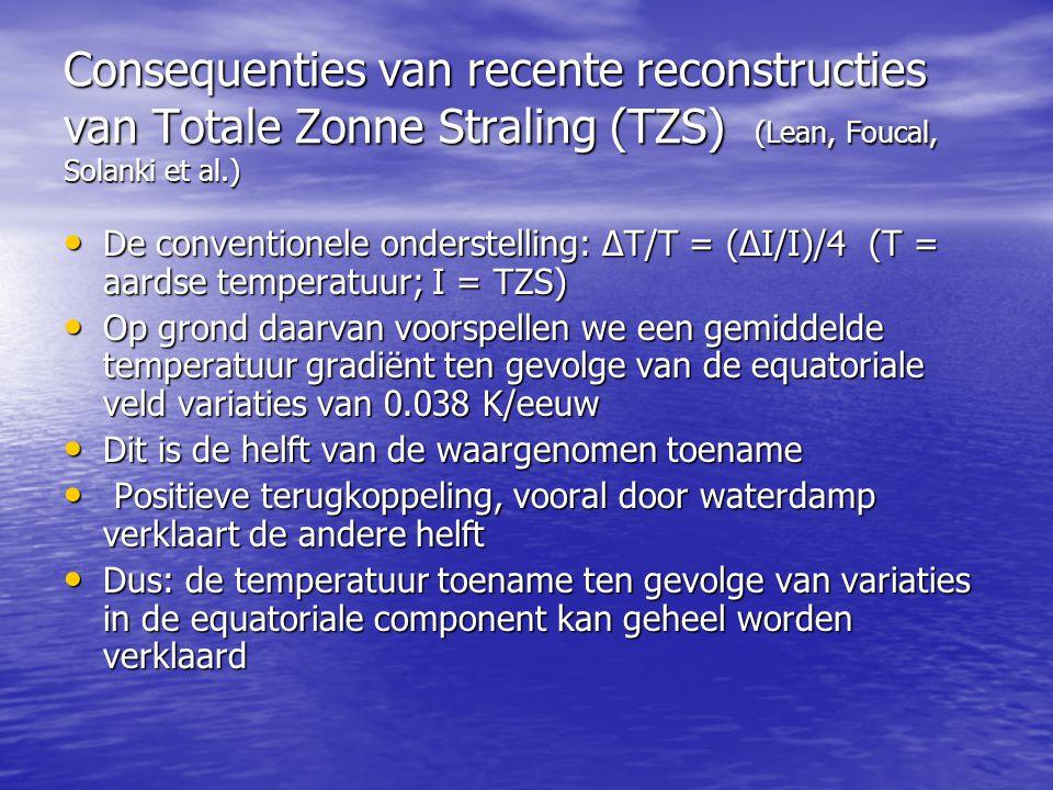 Consequenties van recente reconstructies van Totale Zonne Straling (TZS) (Lean, Foucal, Solanki et al.) • De conventionele onderstelling: ΔT/T = (ΔI/I)/4 (T = aardse temperatuur; I = TZS) • Op grond daarvan voorspellen we een gemiddelde temperatuur gradiënt ten gevolge van de equatoriale veld variaties van 0.038 K/eeuw • Dit is de helft van de waargenomen toename • Positieve terugkoppeling, vooral door waterdamp verklaart de andere helft • Dus: de temperatuur toename ten gevolge van variaties in de equatoriale component kan geheel worden verklaard