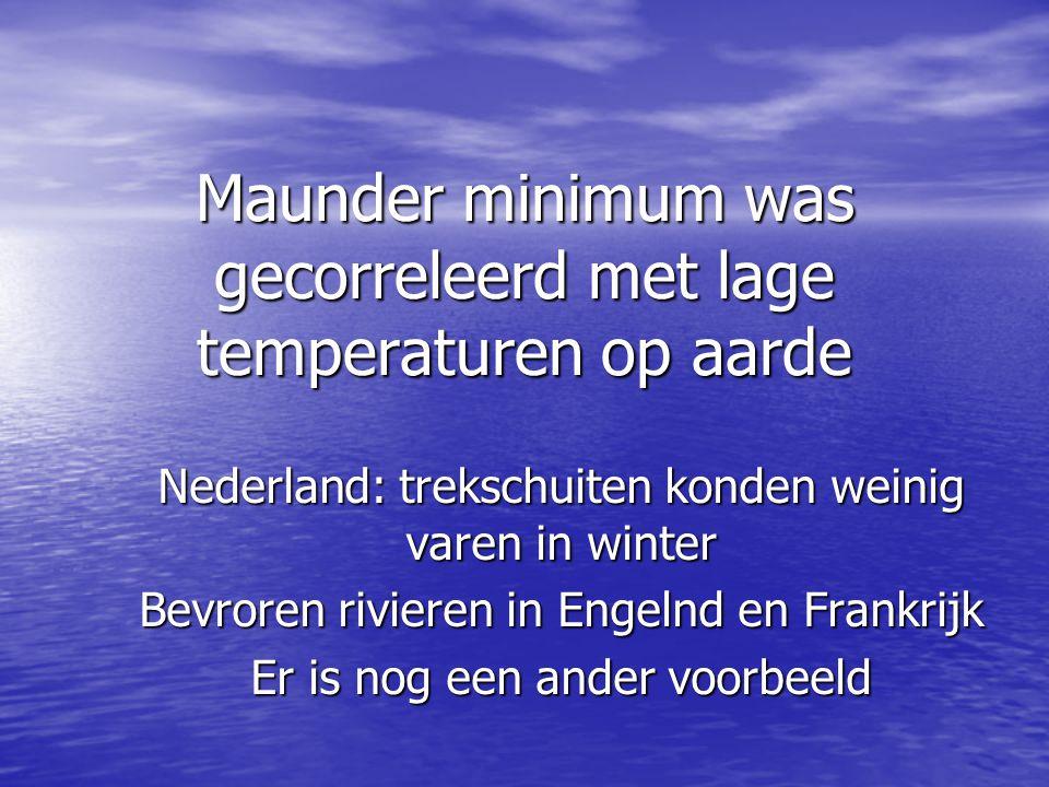 Maunder minimum was gecorreleerd met lage temperaturen op aarde Nederland: trekschuiten konden weinig varen in winter Bevroren rivieren in Engelnd en