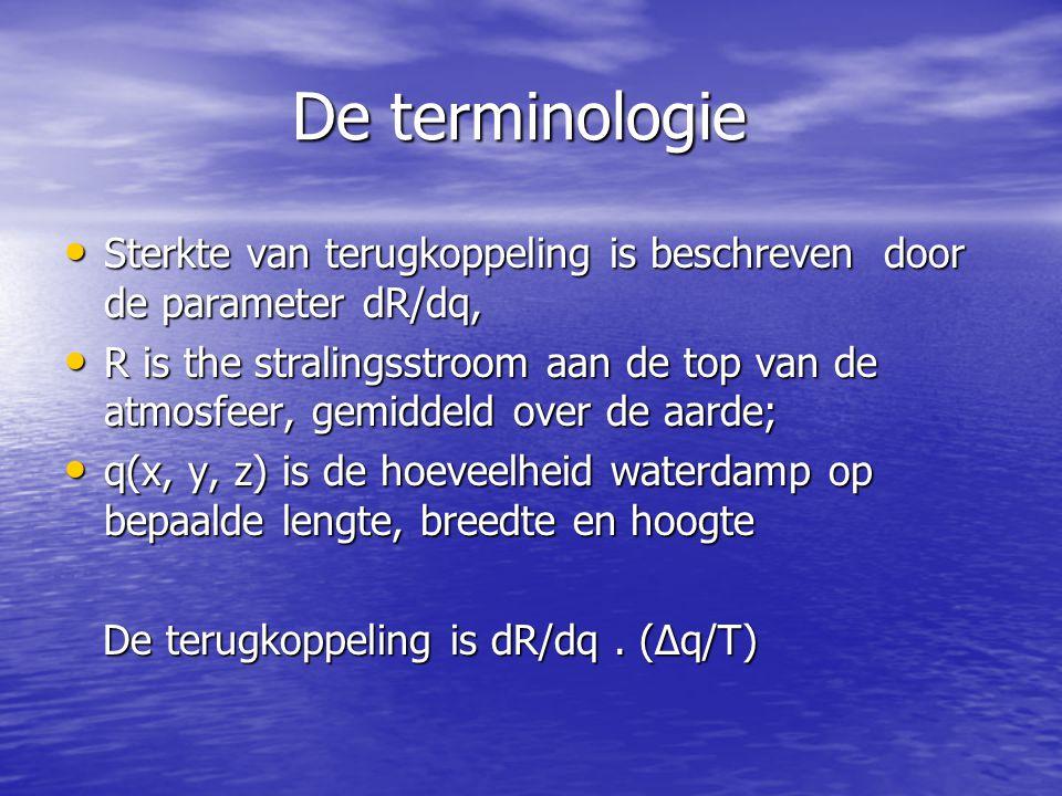 De terminologie De terminologie • Sterkte van terugkoppeling is beschreven door de parameter dR/dq, • R is the stralingsstroom aan de top van de atmos