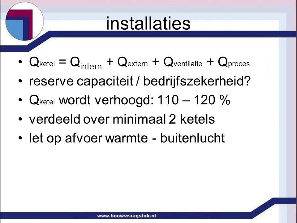 installaties •Q ketel = Q intern + Q extern + Q ventilatie + Q proces •reserve capaciteit / bedrijfszekerheid? •Q ketel wordt verhoogd: 110 – 120 % •v