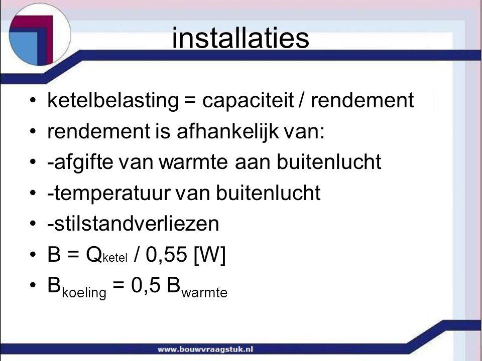installaties •ketelbelasting = capaciteit / rendement •rendement is afhankelijk van: •-afgifte van warmte aan buitenlucht •-temperatuur van buitenluch