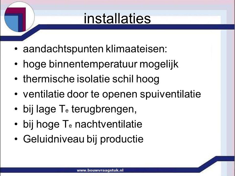 •aandachtspunten klimaateisen: •hoge binnentemperatuur mogelijk •thermische isolatie schil hoog •ventilatie door te openen spuiventilatie •bij lage T