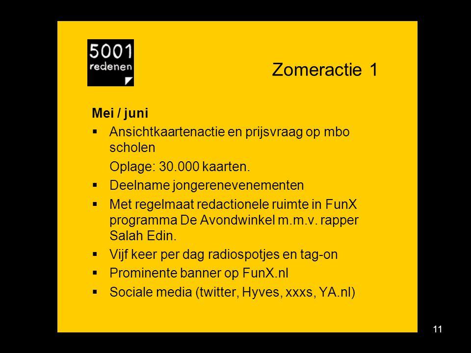 11 Zomeractie 1 Mei / juni  Ansichtkaartenactie en prijsvraag op mbo scholen Oplage: 30.000 kaarten.
