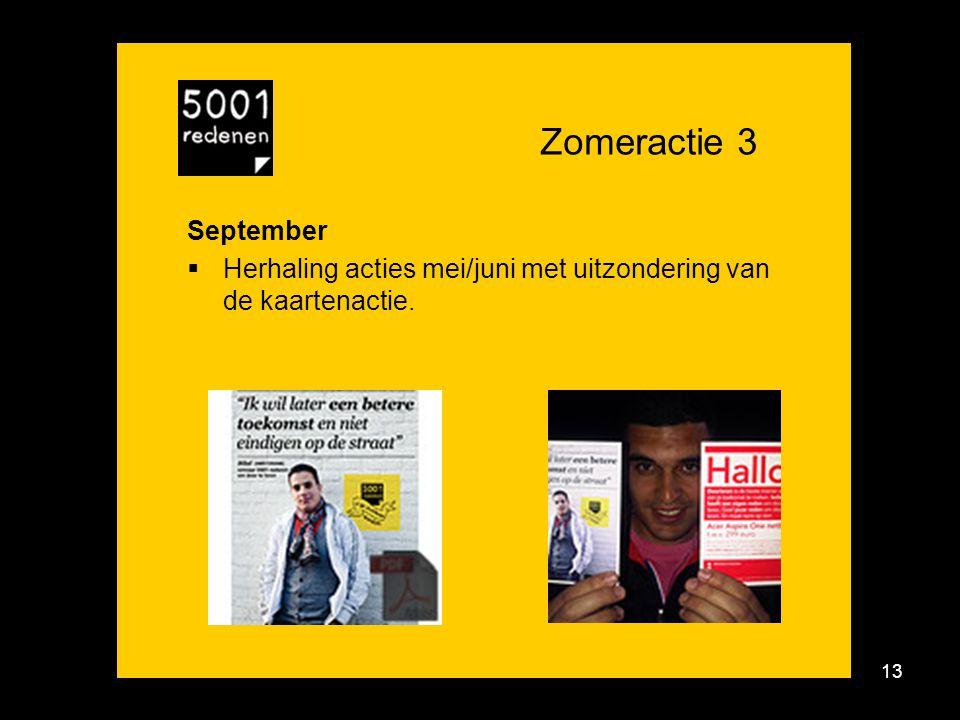 13 Zomeractie 3 September  Herhaling acties mei/juni met uitzondering van de kaartenactie.
