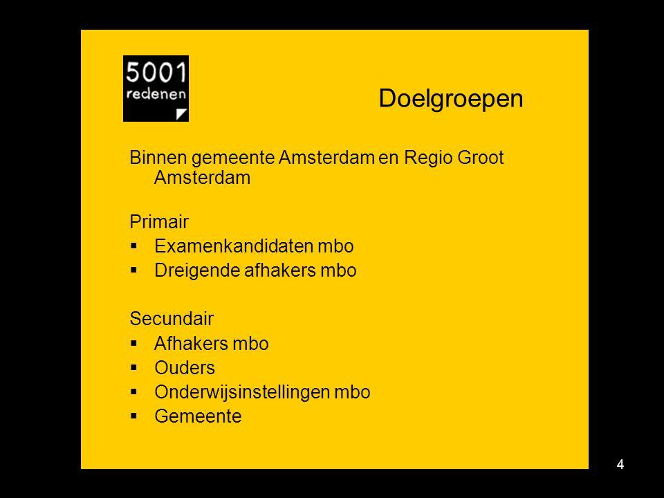4 Doelgroepen Binnen gemeente Amsterdam en Regio Groot Amsterdam Primair  Examenkandidaten mbo  Dreigende afhakers mbo Secundair  Afhakers mbo  Ouders  Onderwijsinstellingen mbo  Gemeente