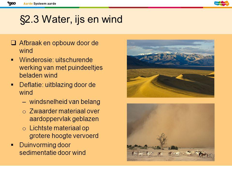 §2.3 Water, ijs en wind  Afbraak en opbouw door de wind  Winderosie: uitschurende werking van met puindeeltjes beladen wind  Deflatie: uitblazing d