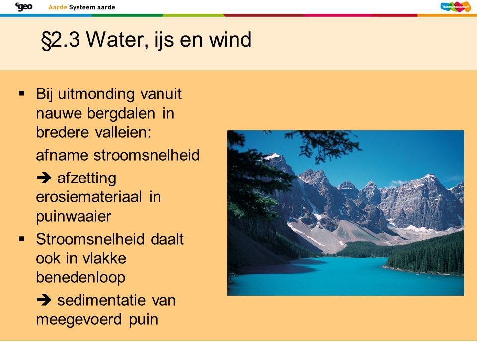 §2.3 Water, ijs en wind  Bij uitmonding vanuit nauwe bergdalen in bredere valleien: afname stroomsnelheid  afzetting erosiemateriaal in puinwaaier 
