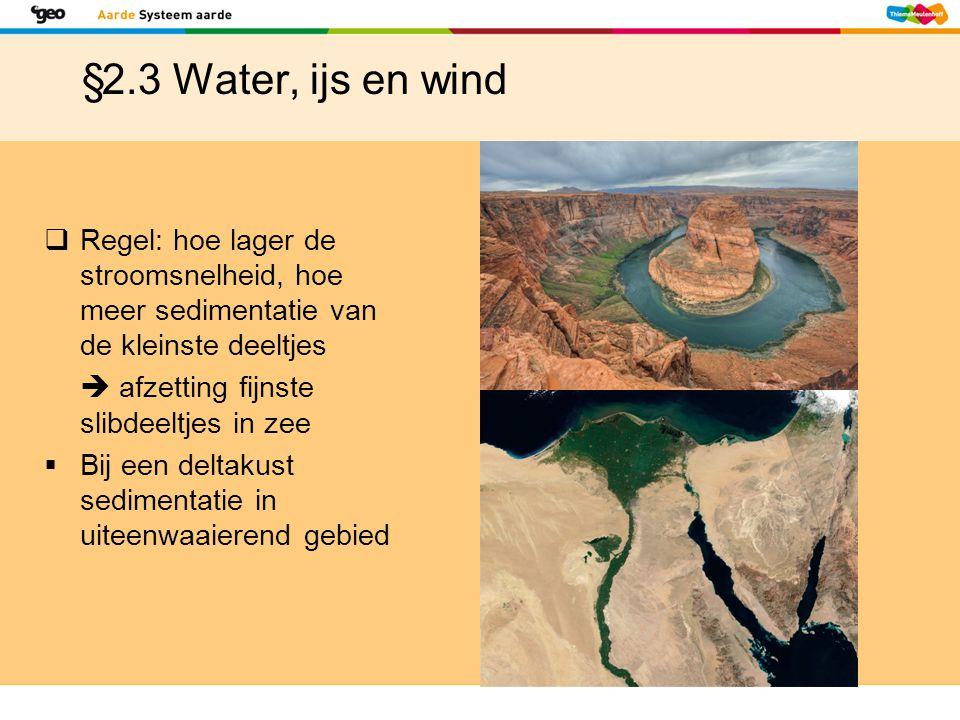 §2.3 Water, ijs en wind  Regel: hoe lager de stroomsnelheid, hoe meer sedimentatie van de kleinste deeltjes  afzetting fijnste slibdeeltjes in zee 