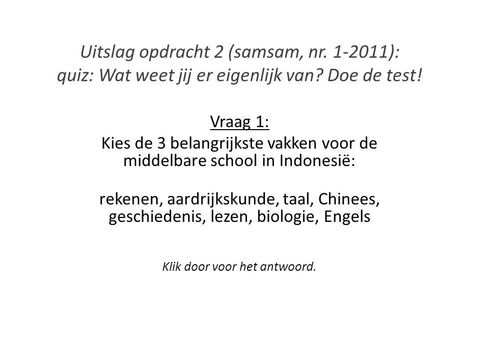 Uitslag opdracht 2 (samsam, nr. 1-2011): quiz: Wat weet jij er eigenlijk van? Doe de test! Vraag 1: Kies de 3 belangrijkste vakken voor de middelbare