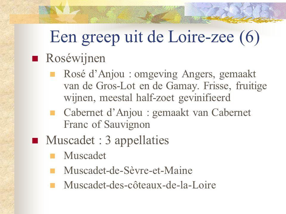 Een greep uit de Loire-zee (6)  Roséwijnen  Rosé d'Anjou : omgeving Angers, gemaakt van de Gros-Lot en de Gamay. Frisse, fruitige wijnen, meestal ha