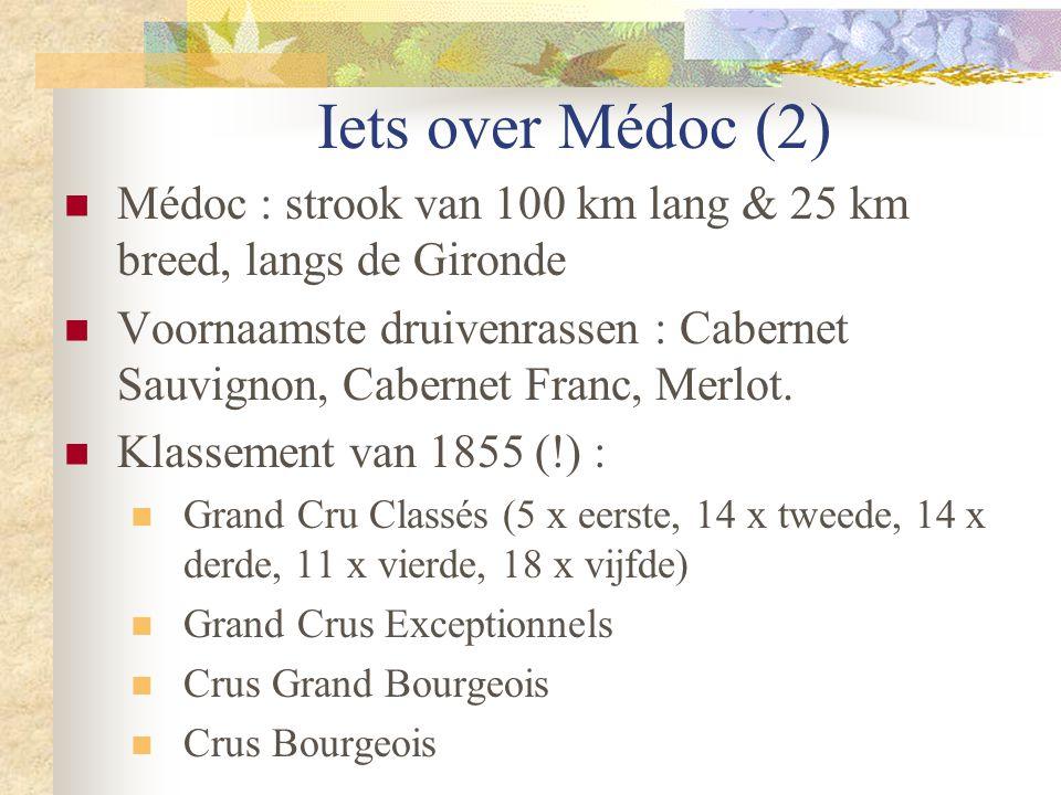 Iets over Médoc (2)  Médoc : strook van 100 km lang & 25 km breed, langs de Gironde  Voornaamste druivenrassen : Cabernet Sauvignon, Cabernet Franc,