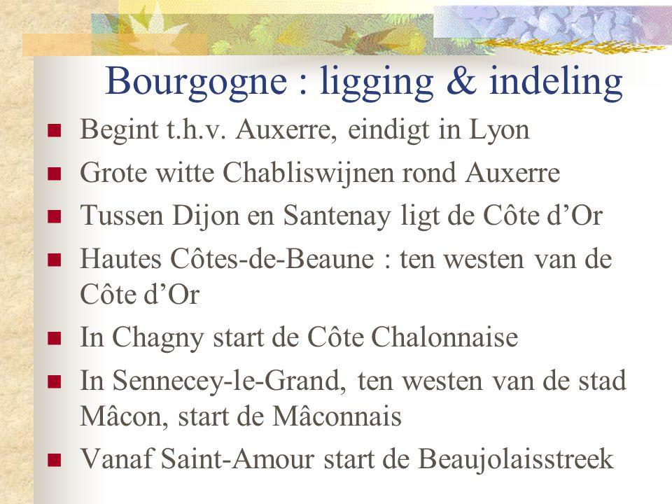 Bourgogne : ligging & indeling  Begint t.h.v. Auxerre, eindigt in Lyon  Grote witte Chabliswijnen rond Auxerre  Tussen Dijon en Santenay ligt de Cô