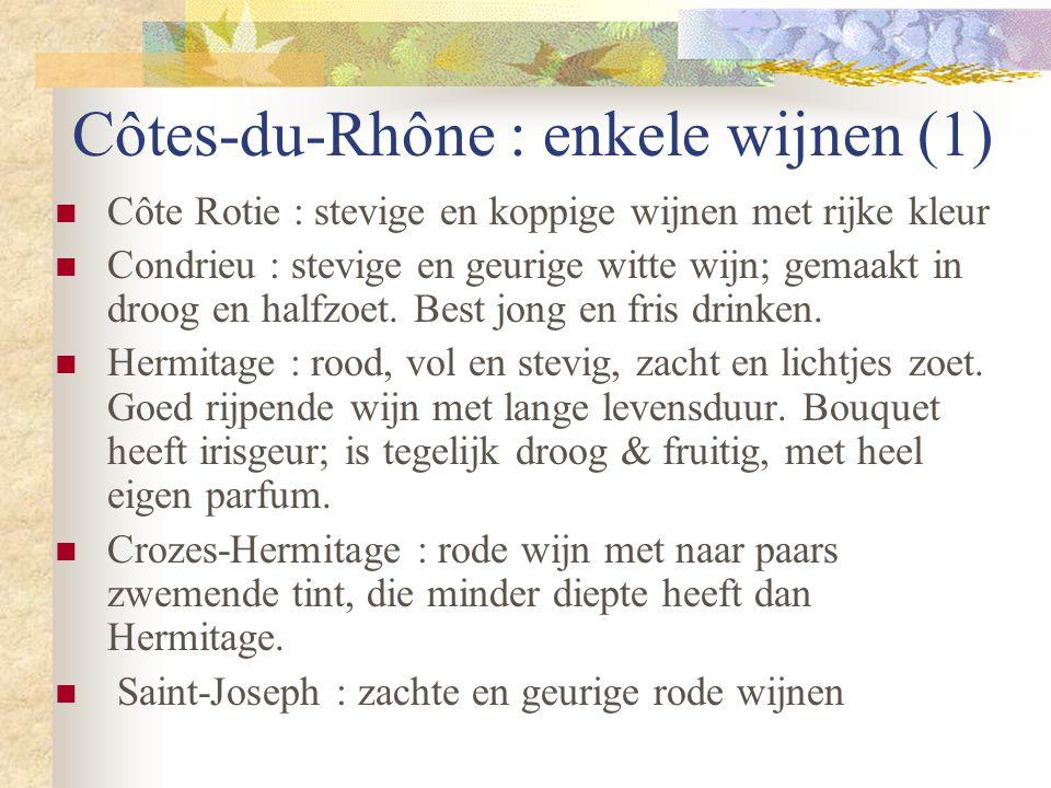 Côtes-du-Rhône : enkele wijnen (1)  Côte Rotie : stevige en koppige wijnen met rijke kleur  Condrieu : stevige en geurige witte wijn; gemaakt in dro