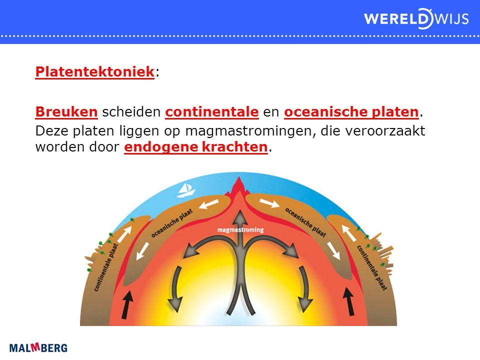 Plaatbewegingen: 1 Convergent (bijv. subductie) 2 Divergent 3 Transform (schuifbreuk)