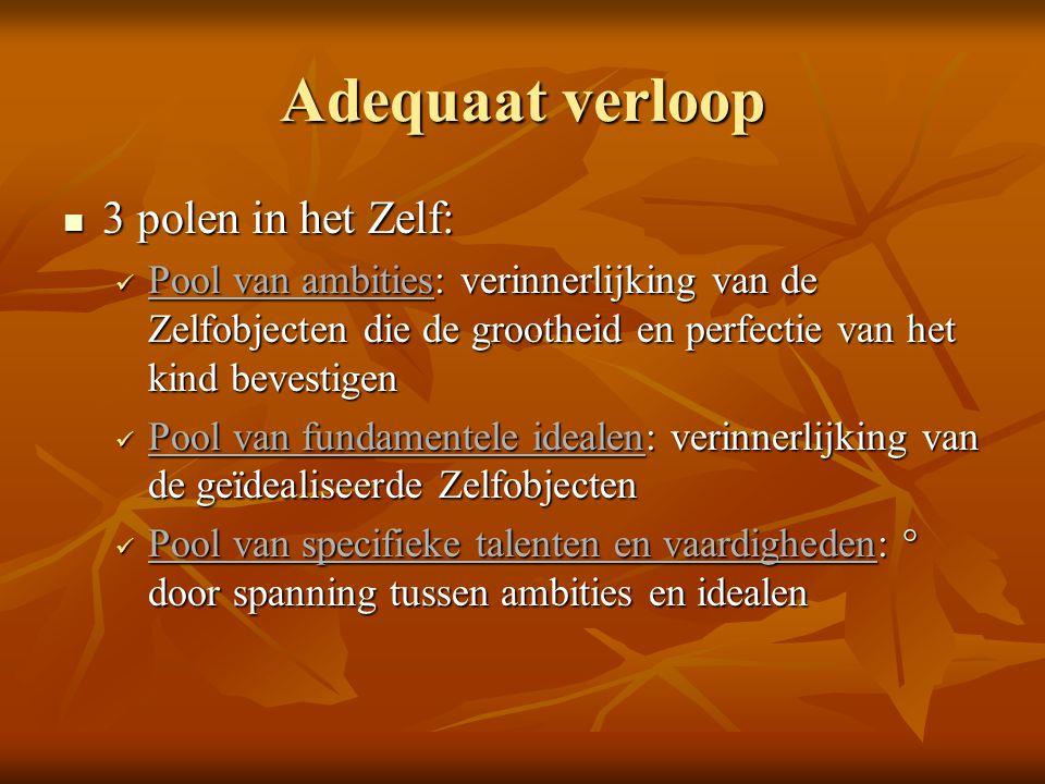 Adequaat verloop  3 polen in het Zelf:  Pool van ambities: verinnerlijking van de Zelfobjecten die de grootheid en perfectie van het kind bevestigen