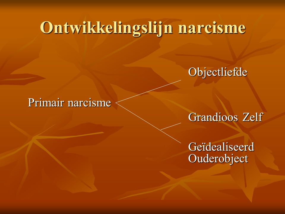 Ontwikkelingslijn narcisme Objectliefde Primair narcisme Grandioos Zelf Geïdealiseerd Ouderobject
