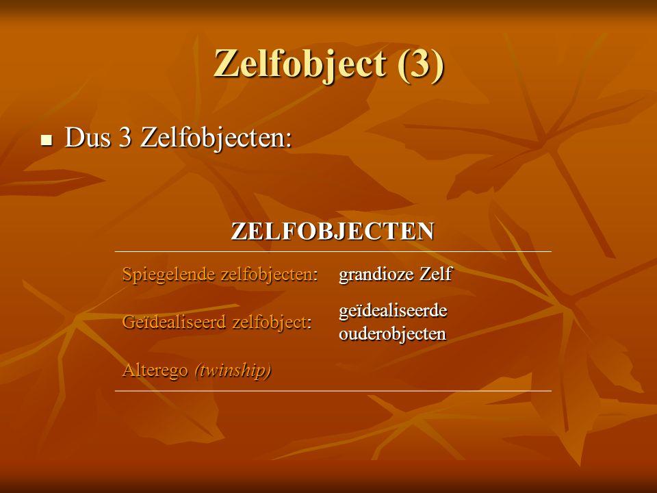 Zelfobject (3)  Dus 3 Zelfobjecten: ZELFOBJECTEN Spiegelende zelfobjecten: grandioze Zelf Geïdealiseerd zelfobject: geïdealiseerde ouderobjecten Alte