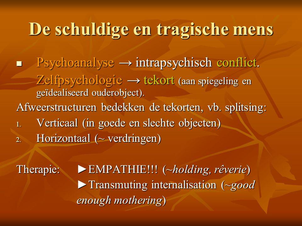 De schuldige en tragische mens  Psychoanalyse → intrapsychisch conflict. Zelfpsychologie → tekort (aan spiegeling en geïdealiseerd ouderobject). Afwe