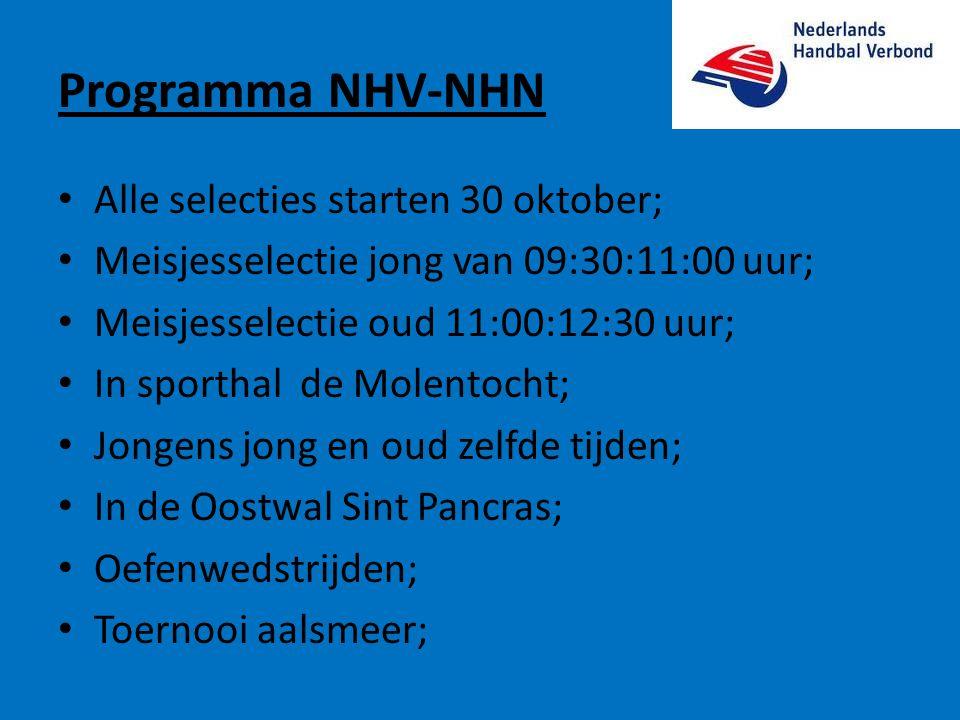 Programma NHV-NHN • Alle selecties starten 30 oktober; • Meisjesselectie jong van 09:30:11:00 uur; • Meisjesselectie oud 11:00:12:30 uur; • In sportha