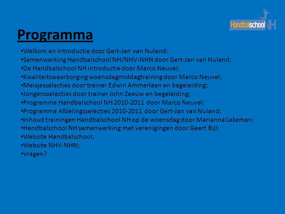 Programma • Welkom en introductie door Gert-Jan van Nuland; • Samenwerking Handbalschool NH/NHV-NHN door Gert-Jan van Nuland; • De Handbalschool NH in