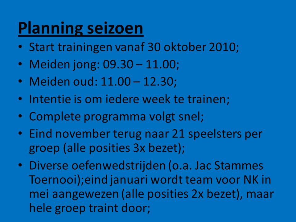Planning seizoen • Start trainingen vanaf 30 oktober 2010; • Meiden jong: 09.30 – 11.00; • Meiden oud: 11.00 – 12.30; • Intentie is om iedere week te