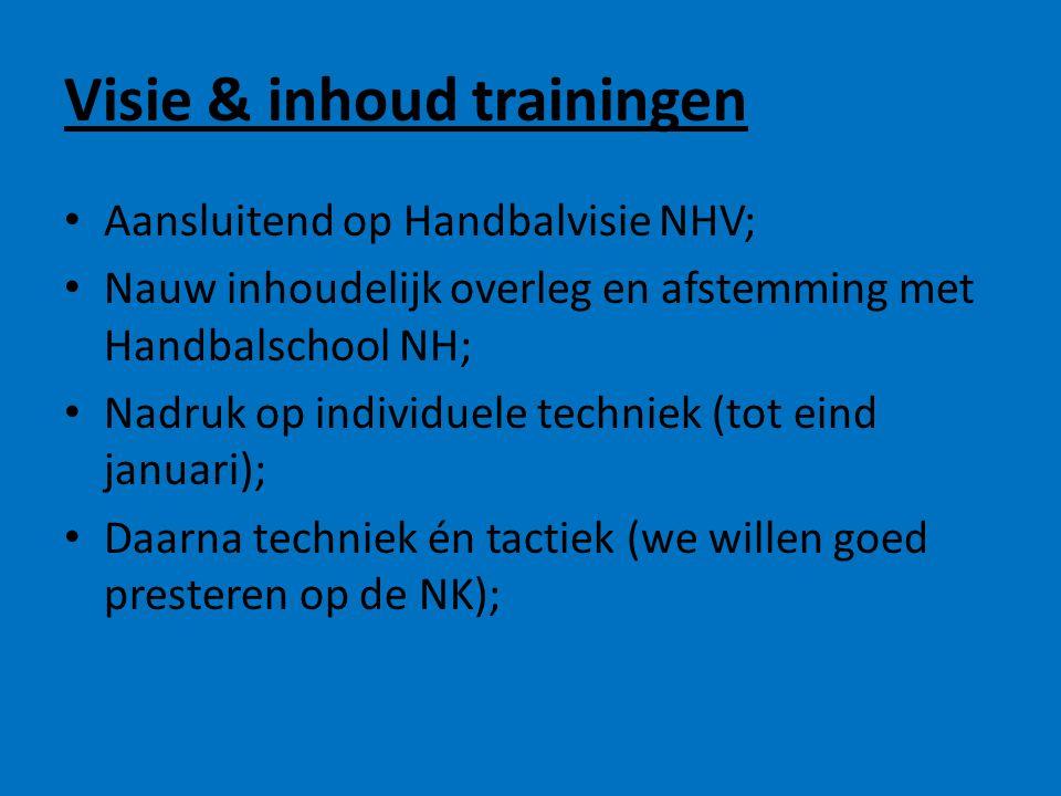 Visie & inhoud trainingen • Aansluitend op Handbalvisie NHV; • Nauw inhoudelijk overleg en afstemming met Handbalschool NH; • Nadruk op individuele te