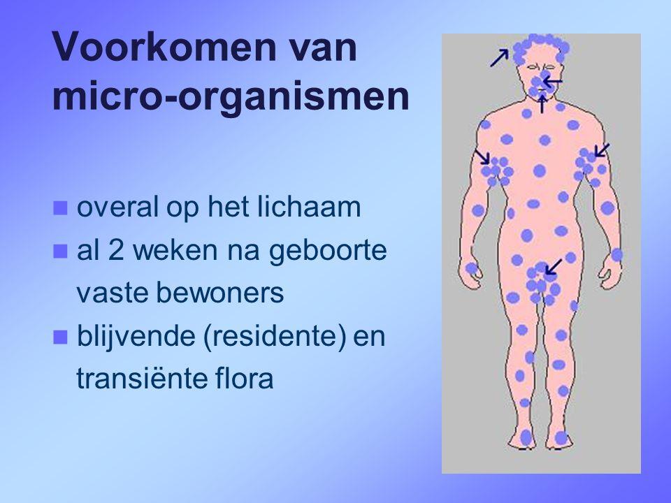 Voorkomen van micro-organismen  overal op het lichaam  al 2 weken na geboorte vaste bewoners  blijvende (residente) en transiënte flora