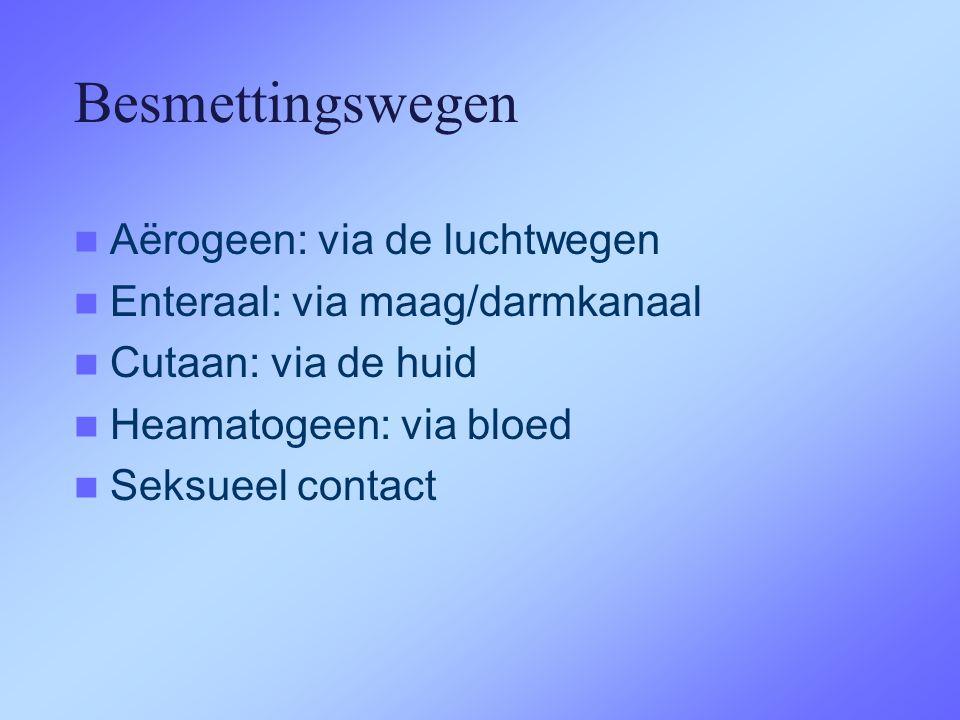 Besmettingswegen  Aërogeen: via de luchtwegen  Enteraal: via maag/darmkanaal  Cutaan: via de huid  Heamatogeen: via bloed  Seksueel contact