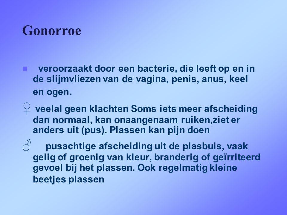 Gonorroe  veroorzaakt door een bacterie, die leeft op en in de slijmvliezen van de vagina, penis, anus, keel en ogen. ♀ veelal geen klachten Soms iet