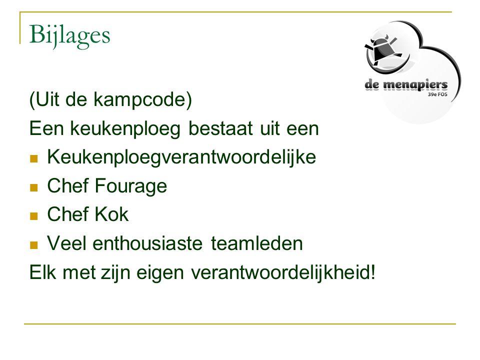 Bijlages (Uit de kampcode) Een keukenploeg bestaat uit een  Keukenploegverantwoordelijke  Chef Fourage  Chef Kok  Veel enthousiaste teamleden Elk
