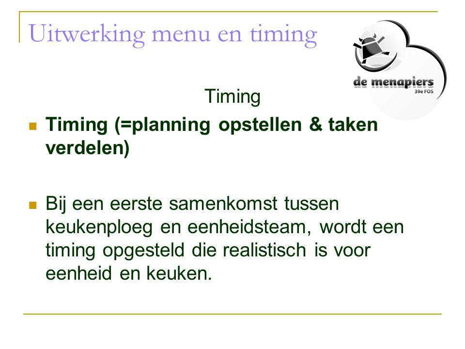 Uitwerking menu en timing Timing  Timing (=planning opstellen & taken verdelen)  Bij een eerste samenkomst tussen keukenploeg en eenheidsteam, wordt