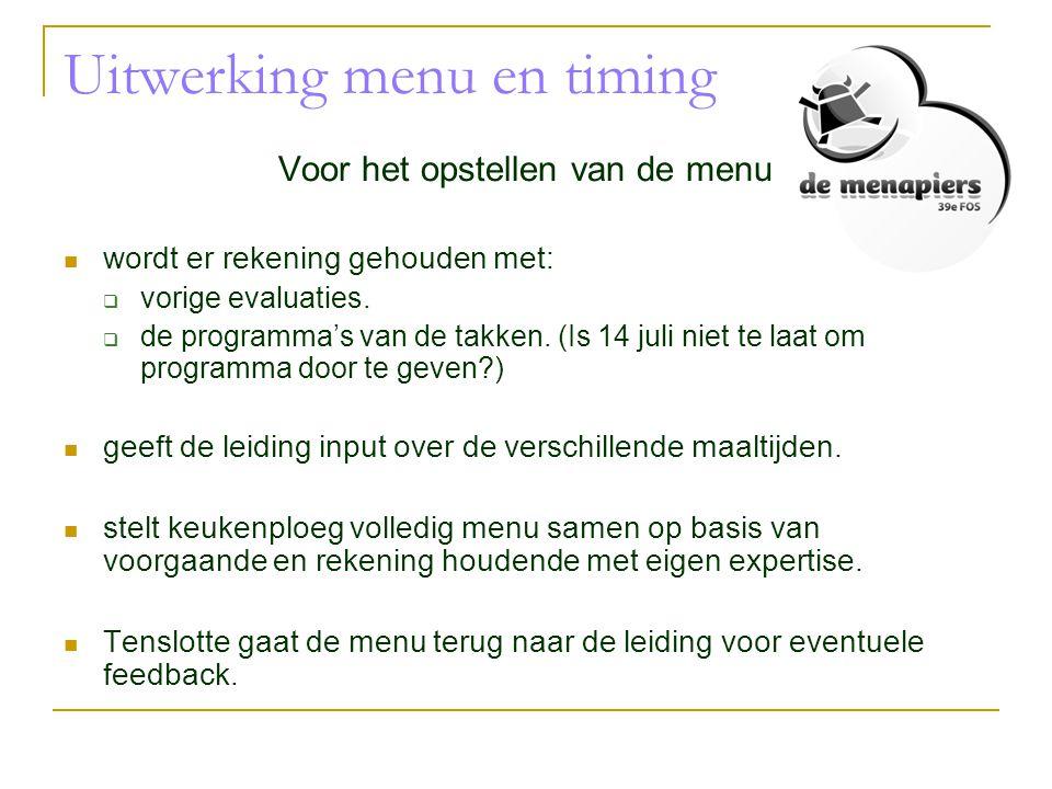 Uitwerking menu en timing Voor het opstellen van de menu  wordt er rekening gehouden met:  vorige evaluaties.  de programma's van de takken. (Is 14