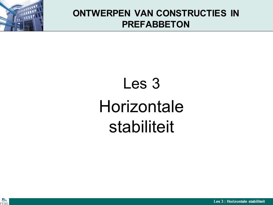 Les 3 : Horizontale stabiliteit Stabiliteit De ontwerpfilosofie van geprefabriceerde betonnen constructies verschilt van deze van ter plaatse gestorte constructies.