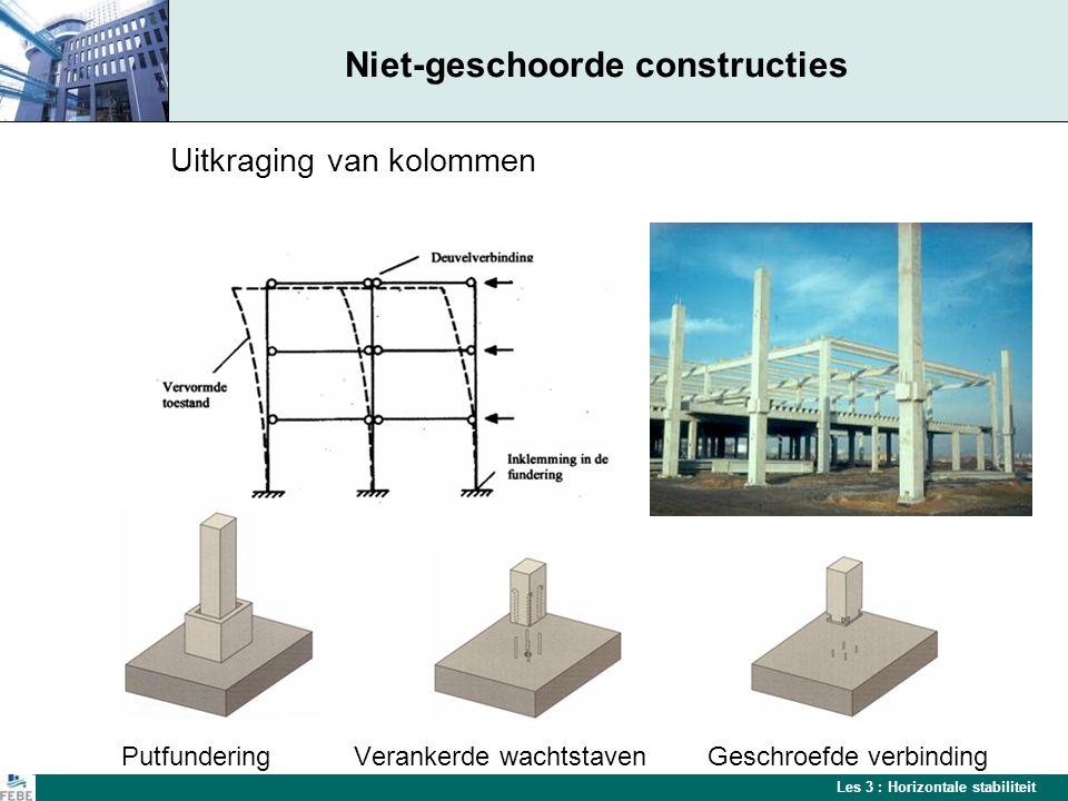 Les 3 : Horizontale stabiliteit Interactie tussen kolommen Horizontale krachten worden verdeeld over de kolommen van een gebouw door de schijfwerking van het dak Voorbeeld van een stijve dakschijf met betonplaten of elementen in cellenbeton
