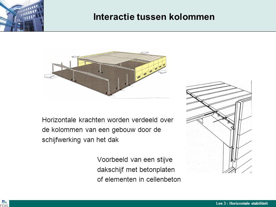 Les 3 : Horizontale stabiliteit Diagonale verstijvingen Verdeling van horizontale belastingen bij lichte dakconstructies of slanke kolommen, door middel van stalen windverbanden Stalen windverbanden in daken en/of gevels