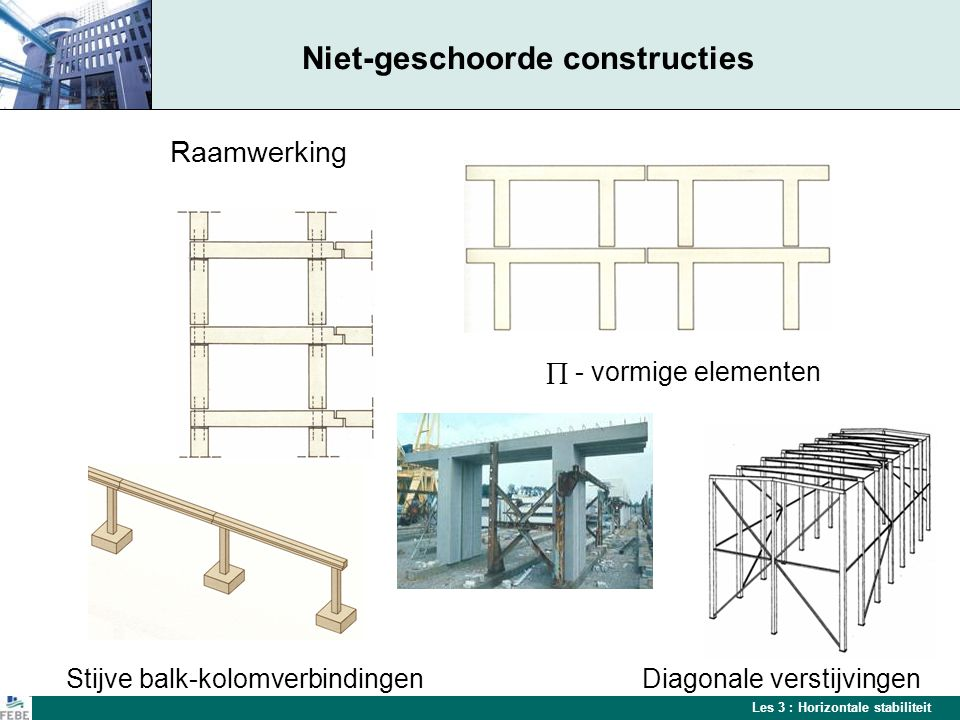 Les 3 : Horizontale stabiliteit Geschoorde constructies De horizontale stabiliteit van middelhoge en hoge geprefabriceerde gebouwen wordt gerealiseerd door:  Centrale kernen  Dwarswanden