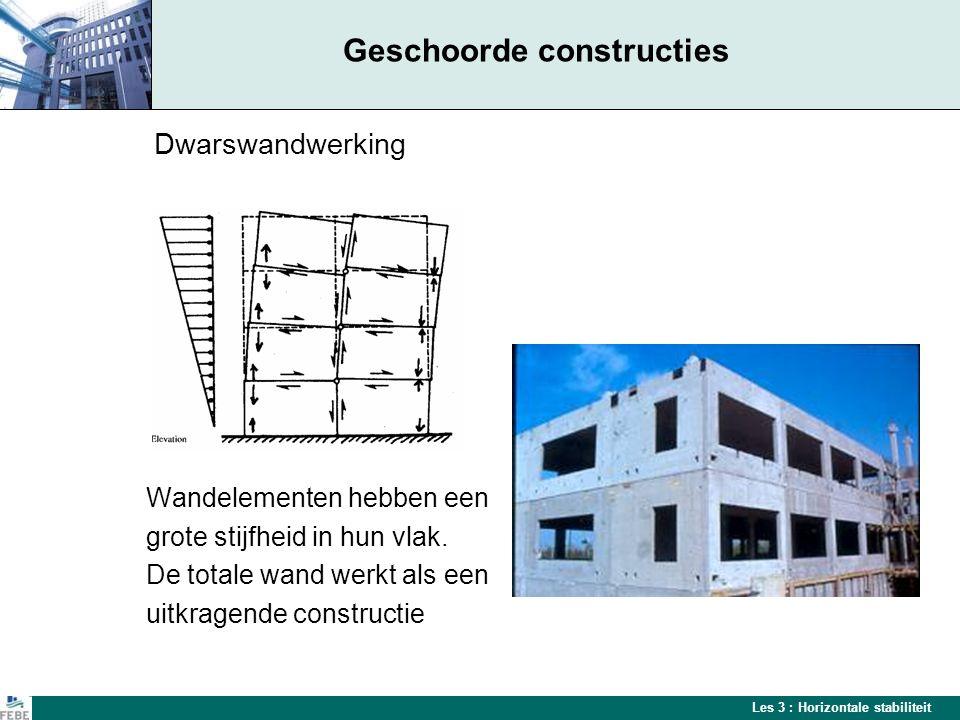 Les 3 : Horizontale stabiliteit Geschoorde constructies Dwarswandwerking Wandelementen hebben een grote stijfheid in hun vlak.
