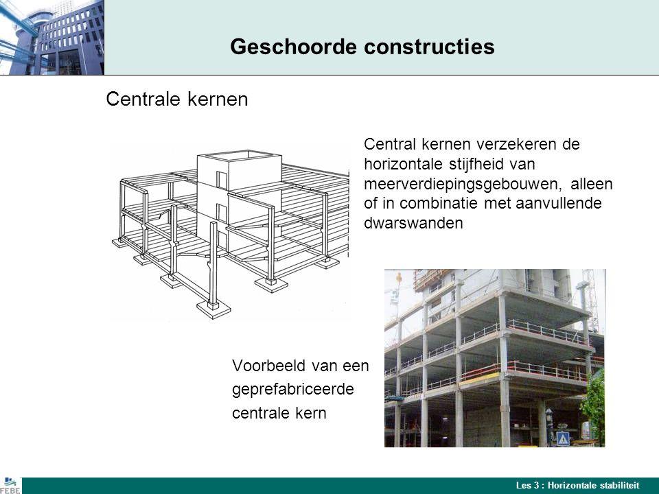 Les 3 : Horizontale stabiliteit Geschoorde constructies Centrale kernen Central kernen verzekeren de horizontale stijfheid van meerverdiepingsgebouwen, alleen of in combinatie met aanvullende dwarswanden Voorbeeld van een geprefabriceerde centrale kern