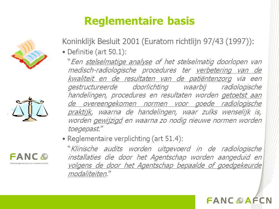 Reglementaire basis Koninklijk Besluit 2001 (Euratom richtlijn 97/43 (1997)): • Definitie (art 50.1): Een stelselmatige analyse of het stelselmatig doorlopen van medisch-radiologische procedures ter verbetering van de kwaliteit en de resultaten van de patiëntenzorg via een gestructureerde doorlichting waarbij radiologische handelingen, procedures en resultaten worden getoetst aan de overeengekomen normen voor goede radiologische praktijk, waarna de handelingen, waar zulks wenselijk is, worden gewijzigd en waarna zo nodig nieuwe normen worden toegepast. • Reglementaire verplichting (art 51.4): Klinische audits worden uitgevoerd in de radiologische installaties die door het Agentschap worden aangeduid en volgens de door het Agentschap bepaalde of goedgekeurde modaliteiten.