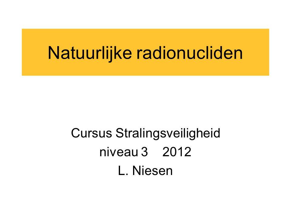 Natuurlijke radionucliden Cursus Stralingsveiligheid niveau 3 2012 L. Niesen