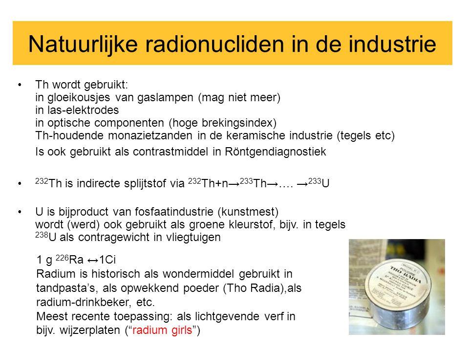 •Th wordt gebruikt: in gloeikousjes van gaslampen (mag niet meer) in las-elektrodes in optische componenten (hoge brekingsindex) Th-houdende monazietz