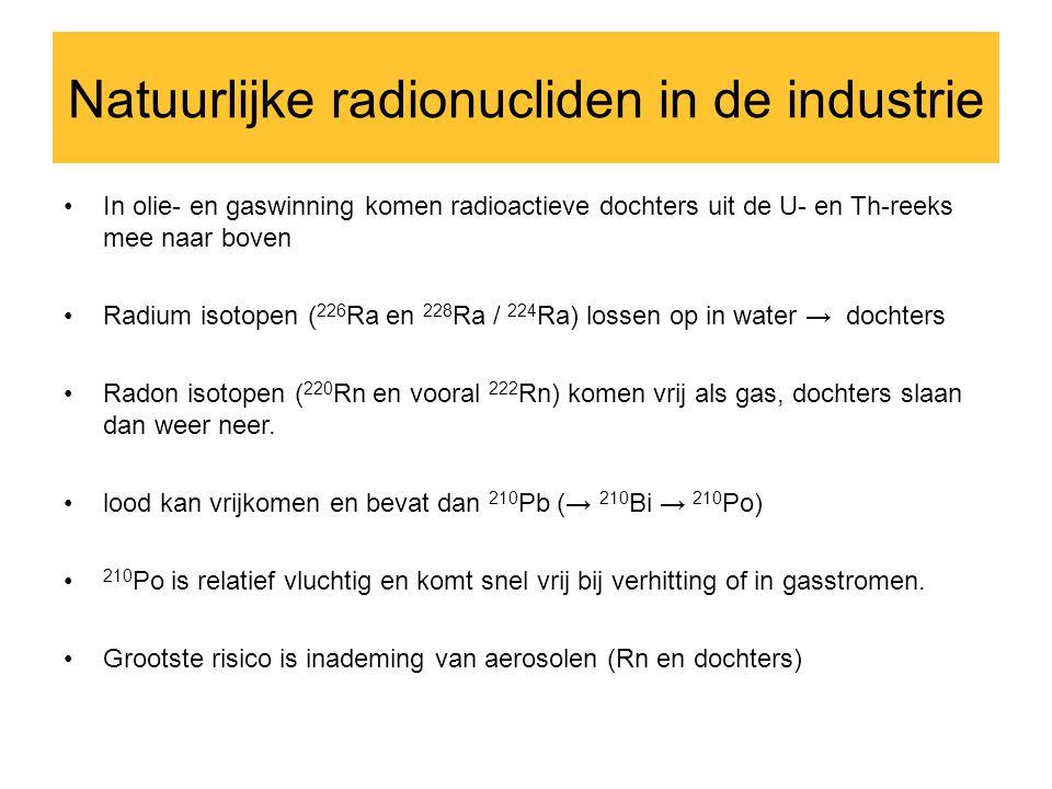 Natuurlijke radionucliden in de industrie •In olie- en gaswinning komen radioactieve dochters uit de U- en Th-reeks mee naar boven •Radium isotopen ( 226 Ra en 228 Ra / 224 Ra) lossen op in water → dochters •Radon isotopen ( 220 Rn en vooral 222 Rn) komen vrij als gas, dochters slaan dan weer neer.
