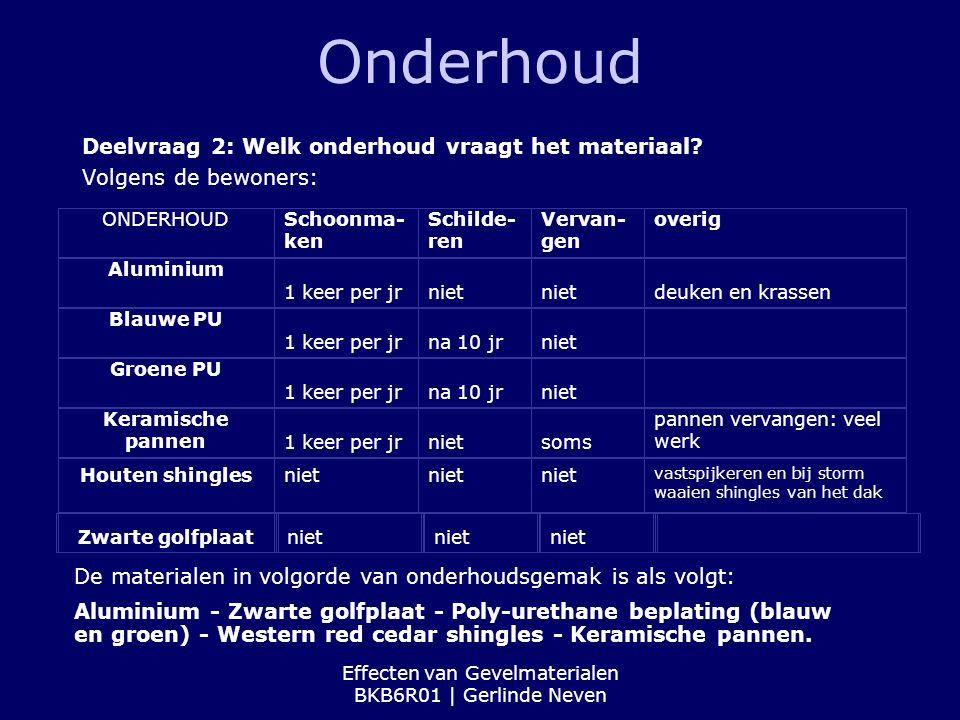 Effecten van Gevelmaterialen BKB6R01 | Gerlinde Neven Onderhoud Deelvraag 2: Welk onderhoud vraagt het materiaal? Volgens de bewoners: ONDERHOUDSchoon