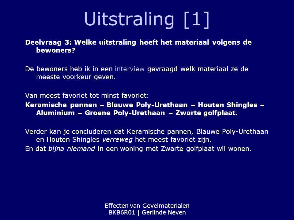 Effecten van Gevelmaterialen BKB6R01 | Gerlinde Neven Uitstraling [1] Deelvraag 3: Welke uitstraling heeft het materiaal volgens de bewoners? De bewon