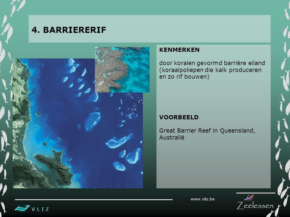 V L I Z www.vliz.be Zeelessen KENMERKEN door koralen gevormd barrière eiland (koraalpoliepen die kalk produceren en zo rif bouwen) VOORBEELD Great Barrier Reef in Queensland, Australië 4.