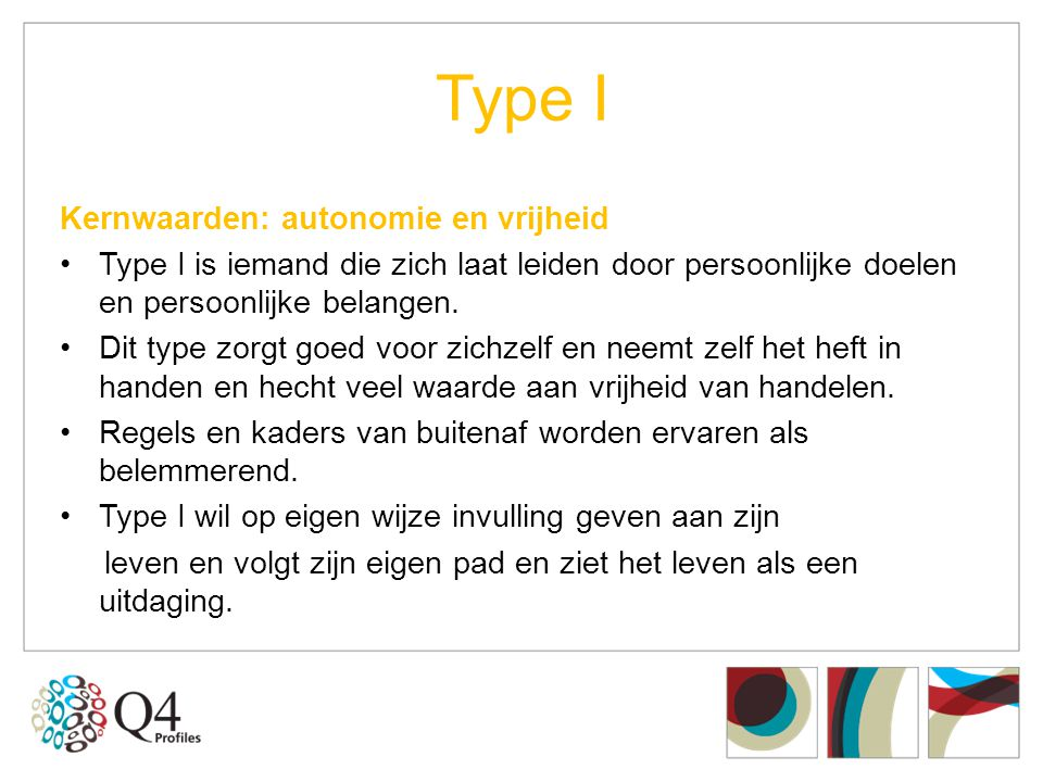 Type I Kernwaarden: autonomie en vrijheid •Type I is iemand die zich laat leiden door persoonlijke doelen en persoonlijke belangen. •Dit type zorgt go