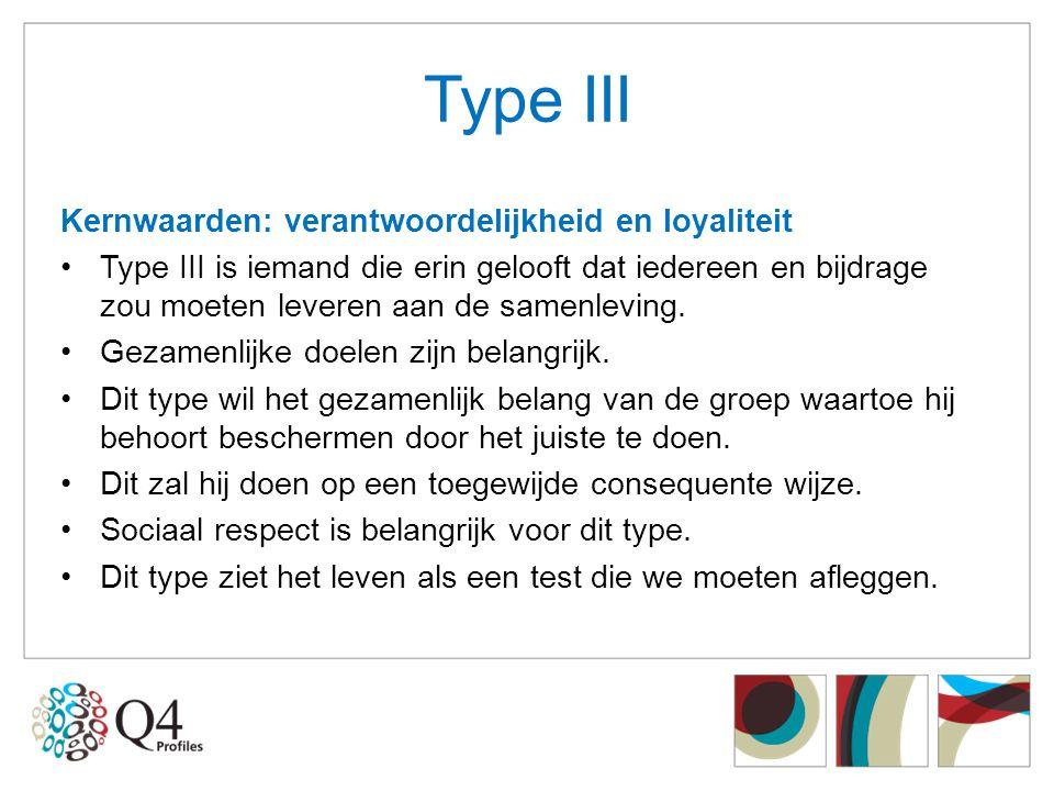 Type III Kernwaarden: verantwoordelijkheid en loyaliteit •Type III is iemand die erin gelooft dat iedereen en bijdrage zou moeten leveren aan de samen