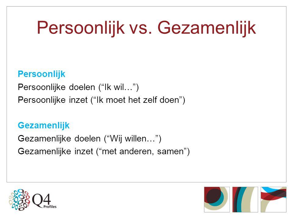 """Persoonlijk vs. Gezamenlijk Persoonlijk Persoonlijke doelen (""""Ik wil…"""") Persoonlijke inzet (""""Ik moet het zelf doen"""") Gezamenlijk Gezamenlijke doelen ("""