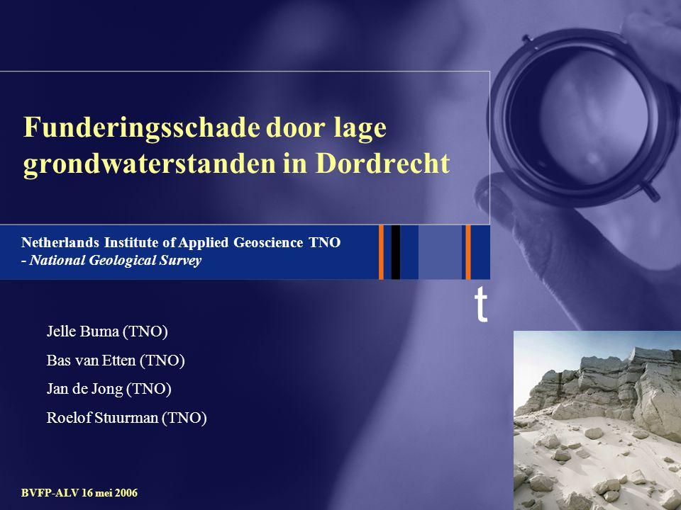 t BVFP-ALV 16 mei 2006 Onderzoeksvragen : -Is de schade aan de houten funderingen het gevolg van droogstand.